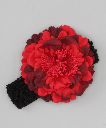 Black & Red Peony Headband