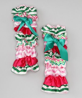 Hot Pink & Green Stripe Ruffle Leg Warmers