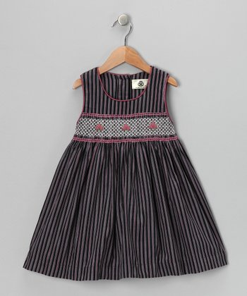 Pink & Navy Stripe Smocked Corduroy Dress - Girls