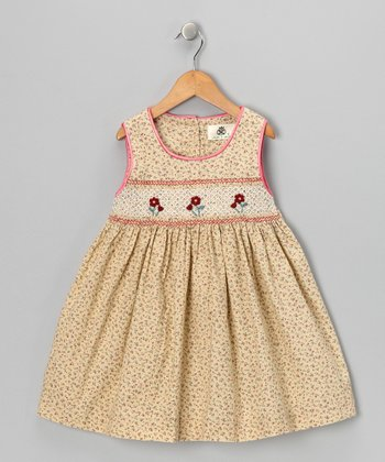 Cream Spring Flower Smocked Corduroy Dress - Girls