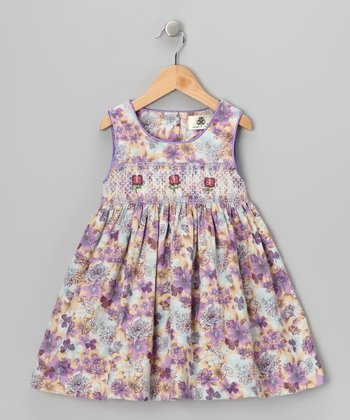Lavender Flower Smocked Corduroy Dress - Girls