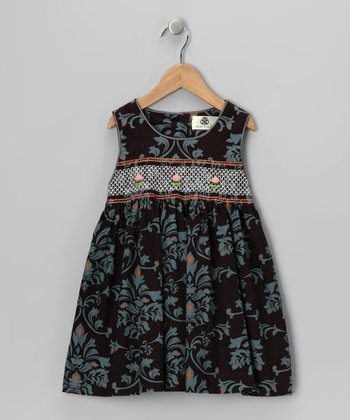 Black & Teal Damask Smocked Corduroy Dress - Girls