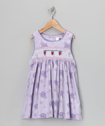 Lavender Spring Smocked Corduroy Dress - Girls