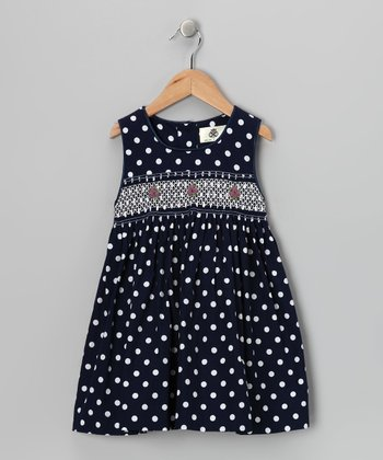 Navy Polka Dot Smocked Dress - Girls