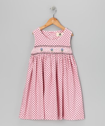 Pink Polka Dot Smocked Corduroy Dress - Toddler