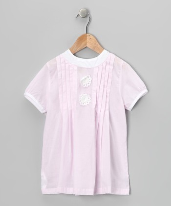Pink & White Pleated Top - Infant & Toddler