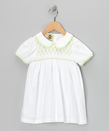 White & Green Smocked Dress - Toddler