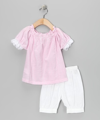 Pink & White Peasant Top & Bloomers - Infant