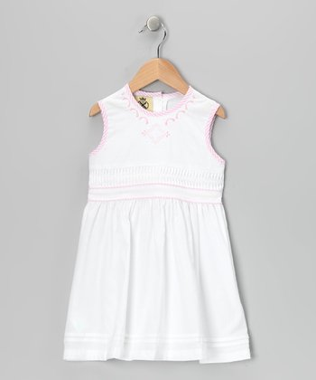 White & Pink Star Smocked Dress - Infant & Toddler