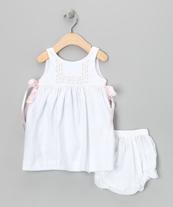 White Ribbon Dress & Diaper Cover - Infant