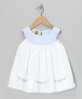 White & Blue Yoke Dress - Infant & Toddler