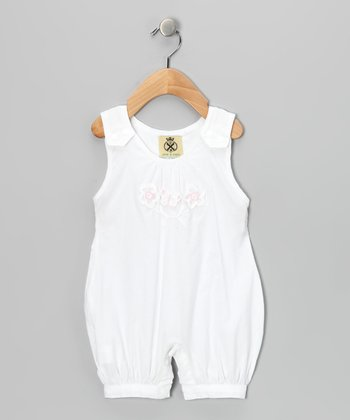 White Floral Bubble Romper - Infant