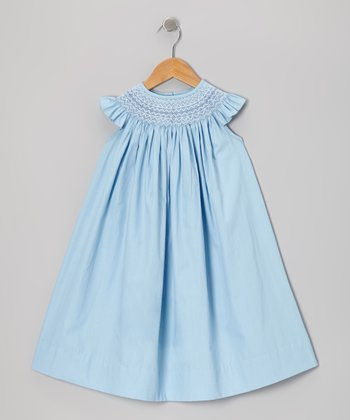 Light Blue Angel-Sleeve Dress - Infant, Toddler & Girls