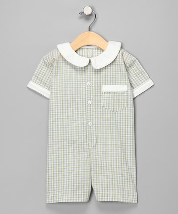 Green Gingham Button Romper - Infant & Toddler