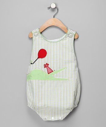 Green Gingham Alligator Bubble Bodysuit - Infant