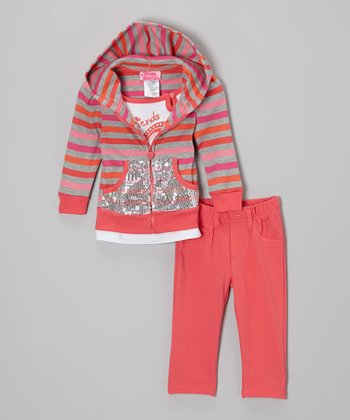 Pink & Orange Stripe Sequin Zip-Up Hoodie Set - Infant