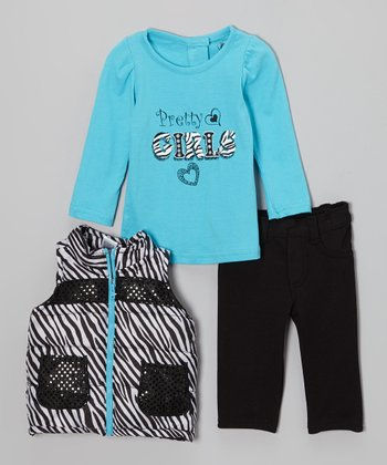 Blue & Black Zebra Puffer Vest Set - Toddler & Girls