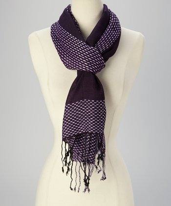 Purple Fringe Scarf