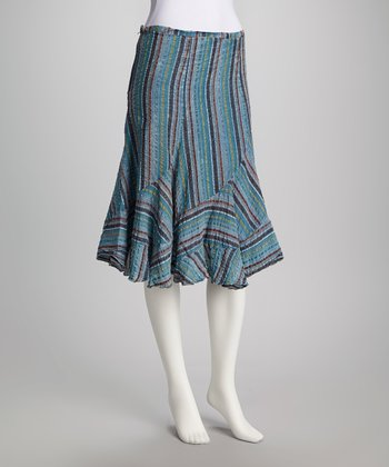 Blue Stripe Skirt - Women