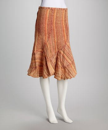 Orange Stripe Skirt - Women