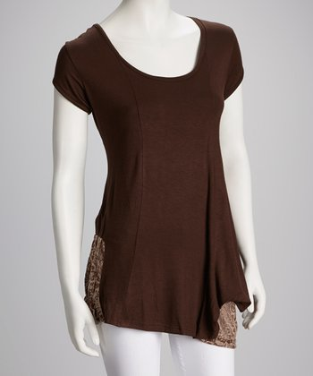 Brown Jali-Pocket Patchwork Top - Women
