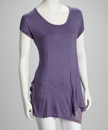 Purple Jali-Pocket Patchwork Top - Women