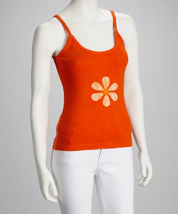 Orange Flower Tank - Women
