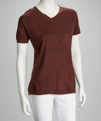 Brown V-Neck Top - Women