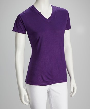 Purple V-Neck Top - Women