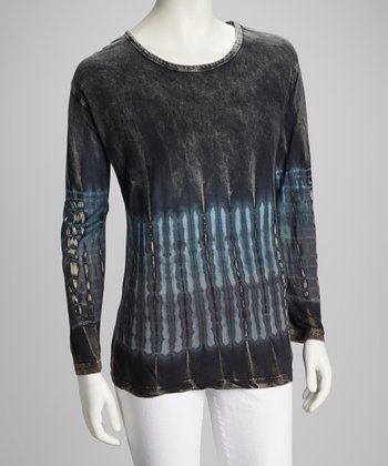 Black & Blue Tie-Dye Top - Women