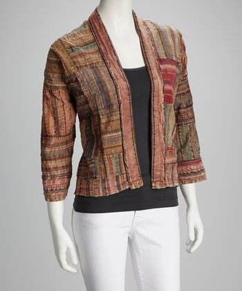 Rust Patchwork Open Cardigan - Women