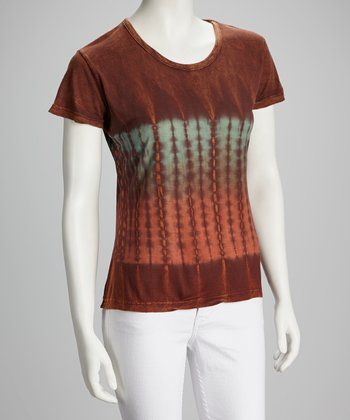 Brown Tie-Dye Short-Sleeve Top - Women