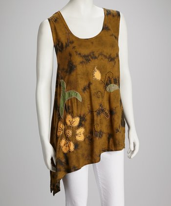 Mustard Embroidered Asymmetrical Tank - Women
