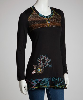 Black Tapestry Long-Sleeve Top - Women