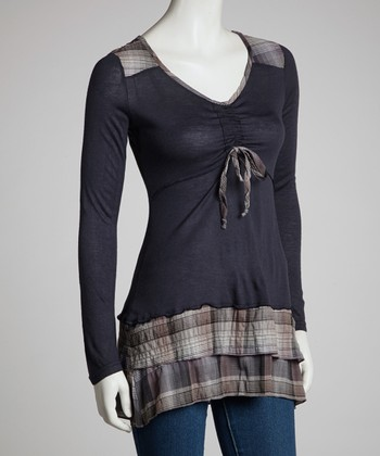 Blue Plaid Tiered Long-Sleeve Tunic