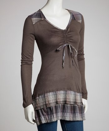 Gray Plaid Tiered Long-Sleeve Tunic