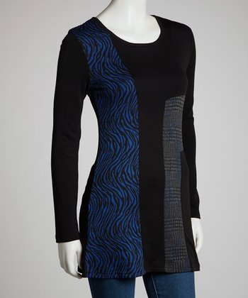 Black Animal & Plaid Three-Quarter Sleeve Tunic