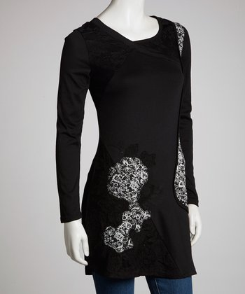 Black Lace Construction Three-Quarter Sleeve Tunic - Women