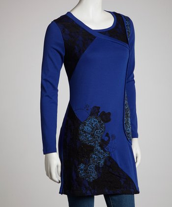 Blue Lace Construction Three-Quarter Sleeve Tunic - Women