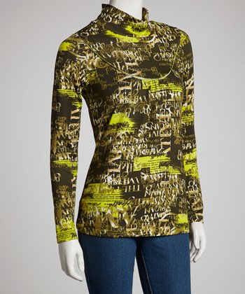 Green Words Turtleneck - Women