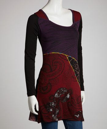Purple & Black Feather Paisley Long-Sleeve Tunic - Women