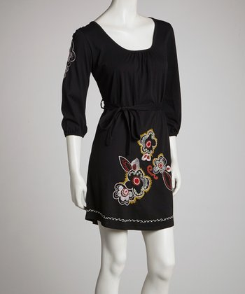 Black Floral Hem Stitch Shift Dress