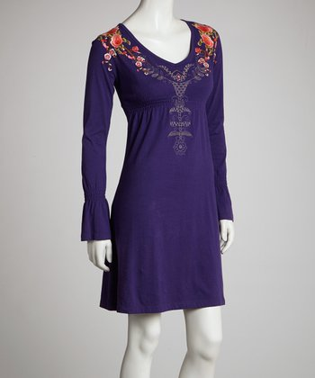 Purple Pink Flower Empire Long-Sleeve Dress - Women