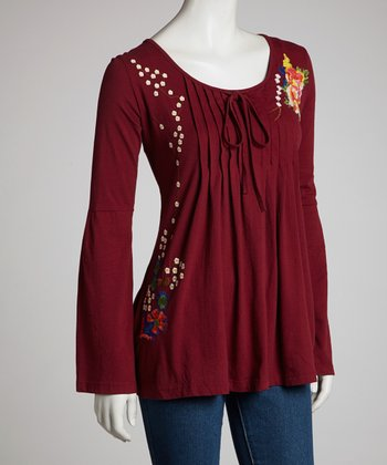 Burgundy Daisy Pleated Peasant Top - Women