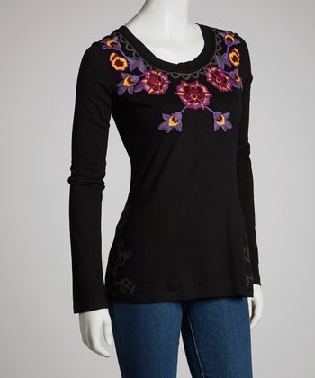 Black Embroidered Floral Long-Sleeve Top
