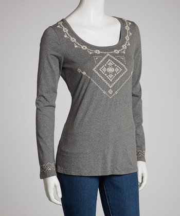 Charcoal Lace Long-Sleeve Top