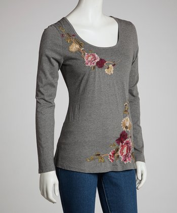 Charcoal Ivy & Floral Long-Sleeve Top