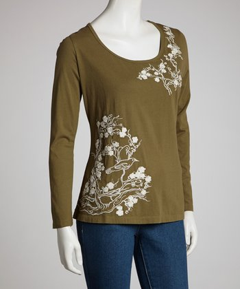 Olive Birds & Blossoms Long-Sleeve Top