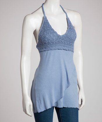 Blue Crocheted Halter Top - Women