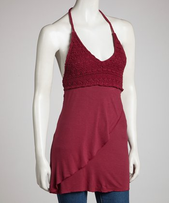 Burgundy Crocheted Halter Top - Women